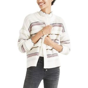 NWOT Madewell Natural Paillette-Striped Cardigan M